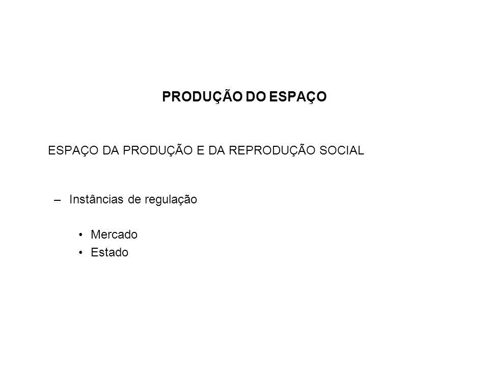 ESPAÇO DA PRODUÇÃO E DA REPRODUÇÃO SOCIAL –Instâncias de regulação Mercado Estado
