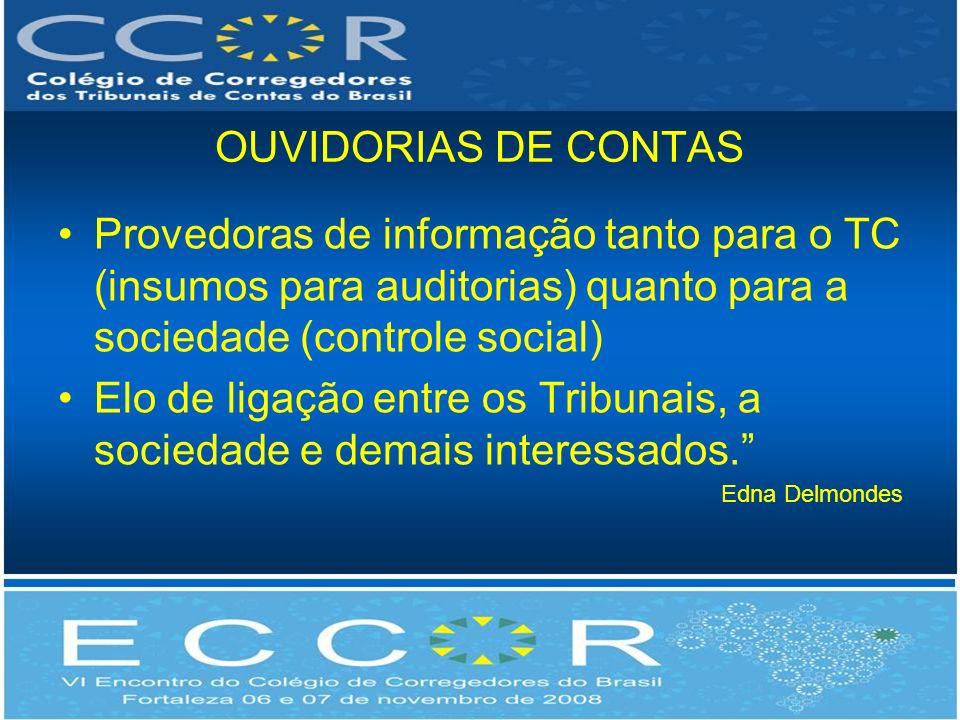 OUVIDORIAS DE CONTAS Provedoras de informação tanto para o TC (insumos para auditorias) quanto para a sociedade (controle social) Elo de ligação entre os Tribunais, a sociedade e demais interessados.