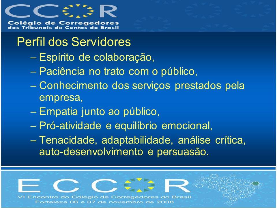 Perfil dos Servidores –Espírito de colaboração, –Paciência no trato com o público, –Conhecimento dos serviços prestados pela empresa, –Empatia junto a