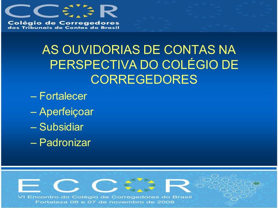 AS OUVIDORIAS DE CONTAS NA PERSPECTIVA DO COLÉGIO DE CORREGEDORES –Fortalecer –Aperfeiçoar –Subsidiar –Padronizar