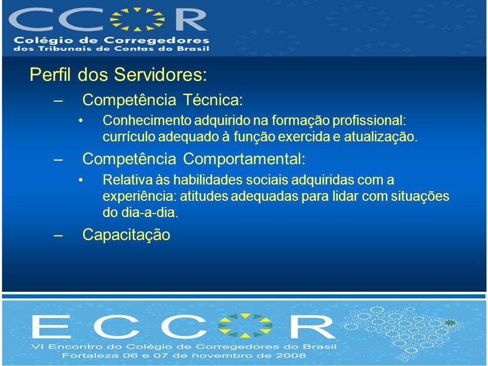 Perfil dos Servidores: –Competência Técnica: Conhecimento adquirido na formação profissional: currículo adequado à função exercida e atualização.