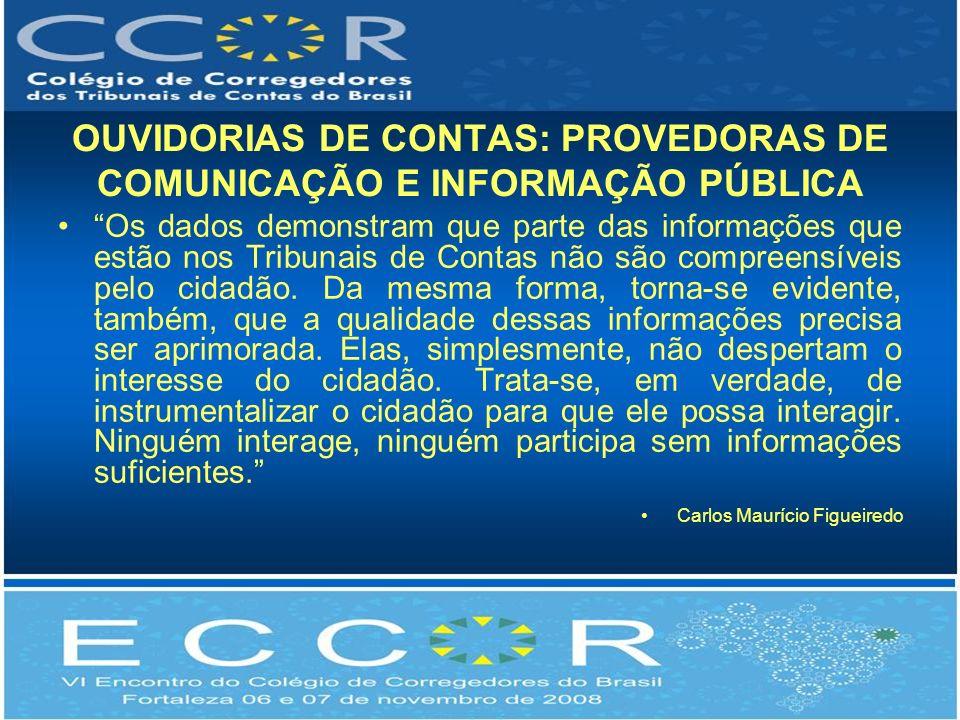 OUVIDORIAS DE CONTAS: PROVEDORAS DE COMUNICAÇÃO E INFORMAÇÃO PÚBLICA Os dados demonstram que parte das informações que estão nos Tribunais de Contas não são compreensíveis pelo cidadão.