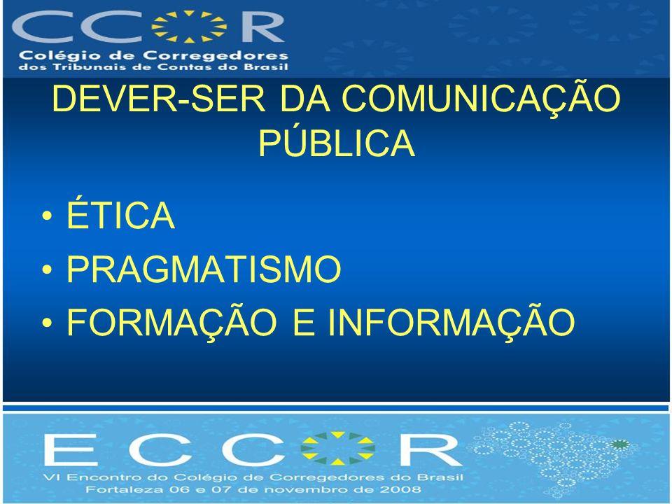 DEVER-SER DA COMUNICAÇÃO PÚBLICA ÉTICA PRAGMATISMO FORMAÇÃO E INFORMAÇÃO