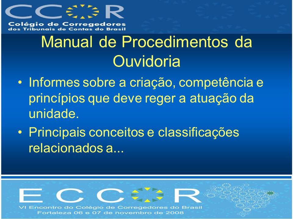 Manual de Procedimentos da Ouvidoria Informes sobre a criação, competência e princípios que deve reger a atuação da unidade. Principais conceitos e cl