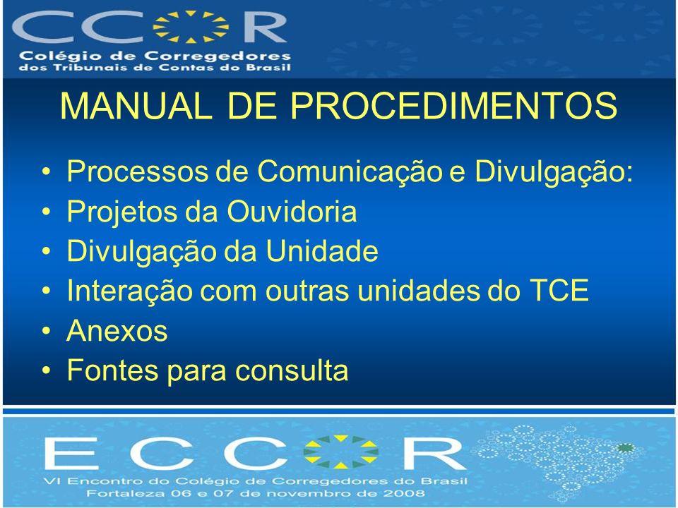 MANUAL DE PROCEDIMENTOS Processos de Comunicação e Divulgação: Projetos da Ouvidoria Divulgação da Unidade Interação com outras unidades do TCE Anexos Fontes para consulta
