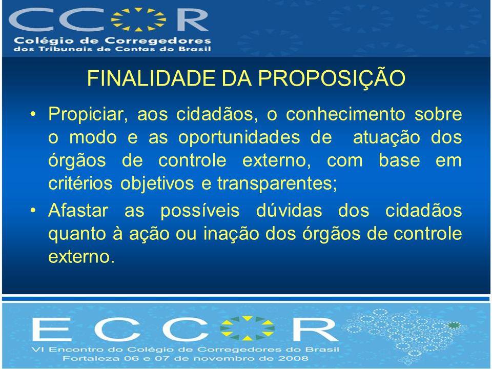 FINALIDADE DA PROPOSIÇÃO Propiciar, aos cidadãos, o conhecimento sobre o modo e as oportunidades de atuação dos órgãos de controle externo, com base e