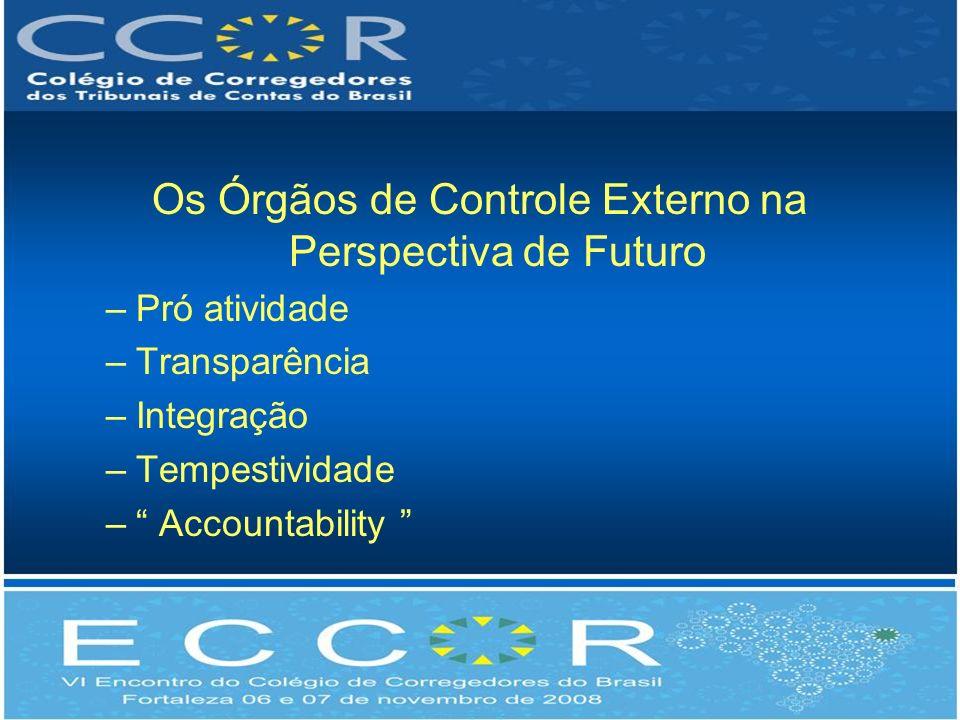 Os Órgãos de Controle Externo na Perspectiva de Futuro –Pró atividade –Transparência –Integração –Tempestividade – Accountability