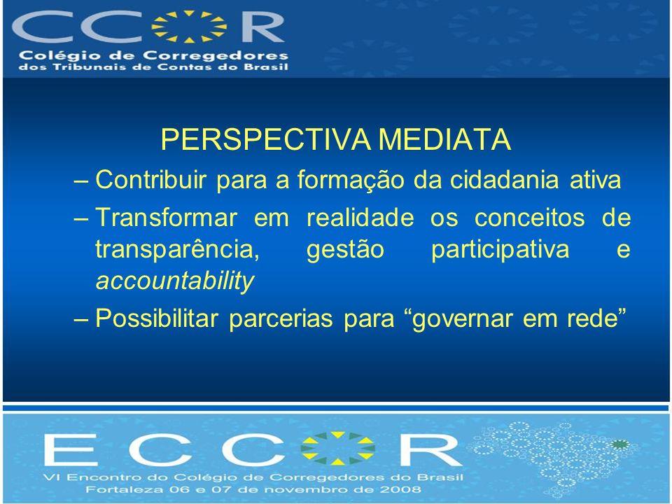 PERSPECTIVA MEDIATA –Contribuir para a formação da cidadania ativa –Transformar em realidade os conceitos de transparência, gestão participativa e accountability –Possibilitar parcerias para governar em rede