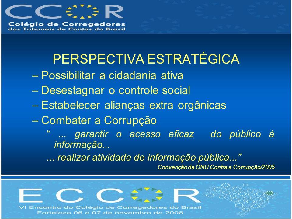 PERSPECTIVA ESTRATÉGICA –Possibilitar a cidadania ativa –Desestagnar o controle social –Estabelecer alianças extra orgânicas –Combater a Corrupção...