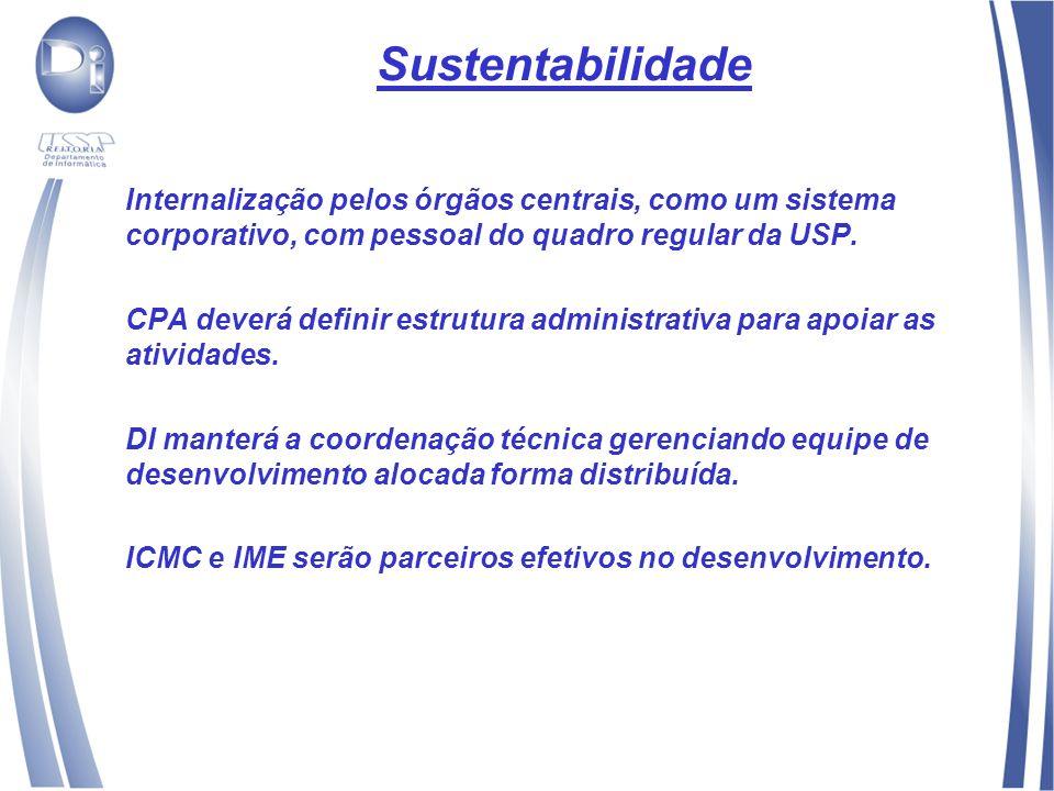 Sustentabilidade Internalização pelos órgãos centrais, como um sistema corporativo, com pessoal do quadro regular da USP.