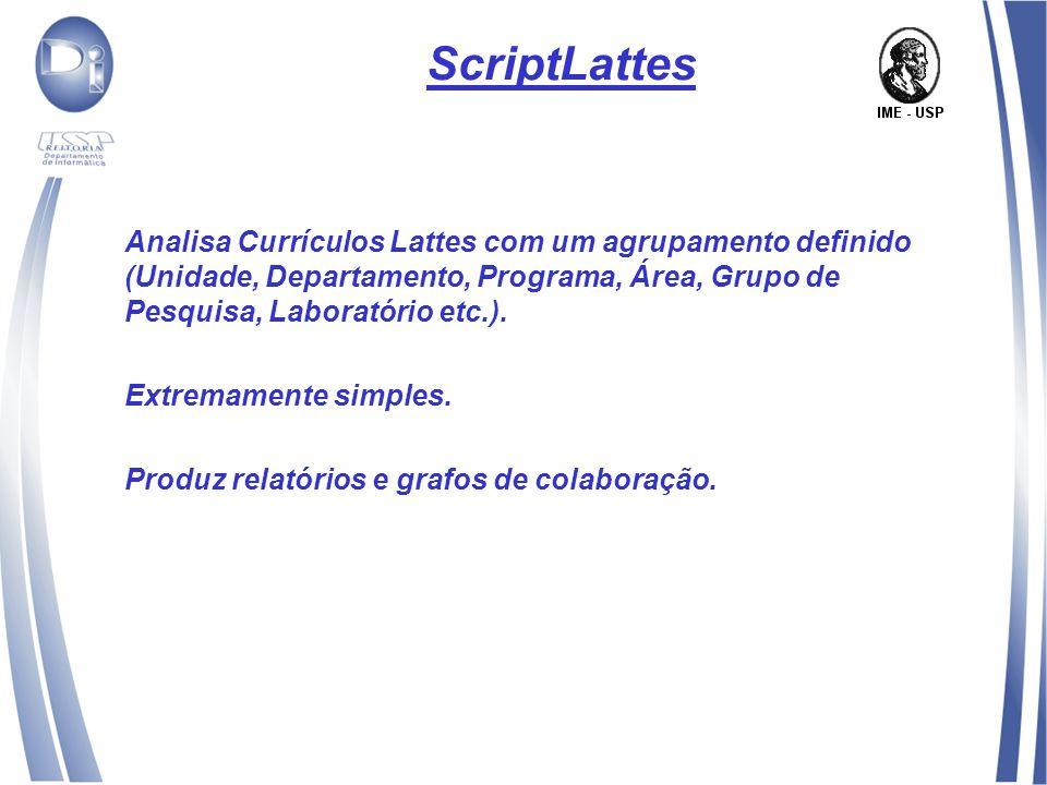 ScriptLattes Analisa Currículos Lattes com um agrupamento definido (Unidade, Departamento, Programa, Área, Grupo de Pesquisa, Laboratório etc.).