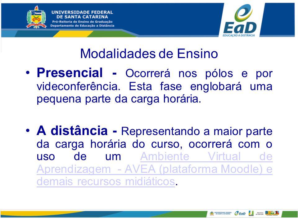 Modalidades de Ensino Presencial - Ocorrerá nos pólos e por videconferência.