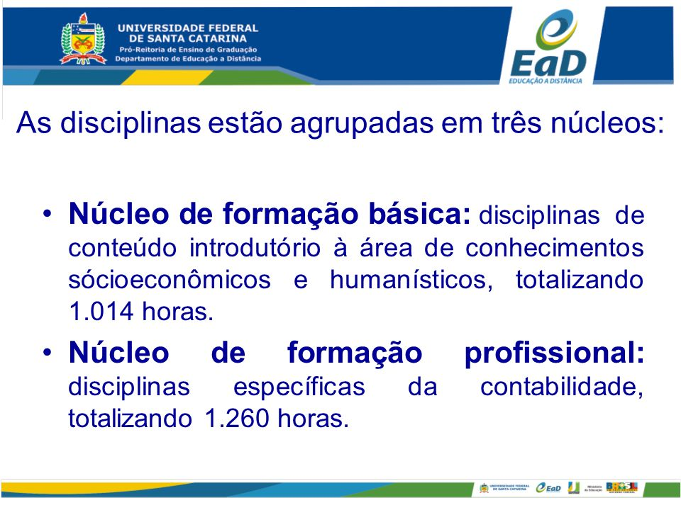 As disciplinas estão agrupadas em três núcleos: Núcleo de formação básica: disciplinas de conteúdo introdutório à área de conhecimentos sócioeconômico