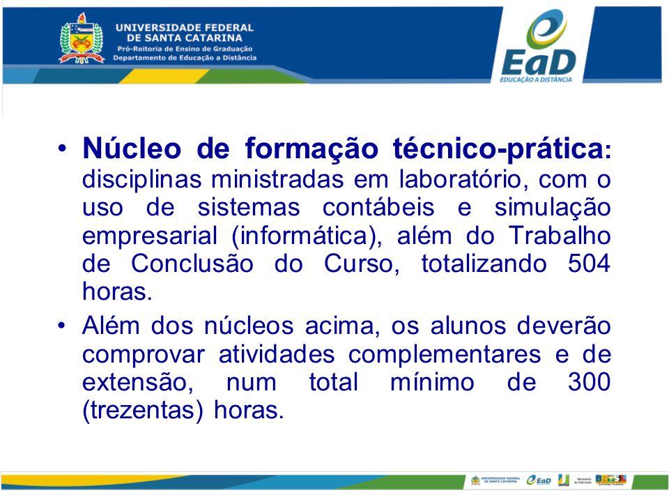 Núcleo de formação técnico-prática : disciplinas ministradas em laboratório, com o uso de sistemas contábeis e simulação empresarial (informática), al