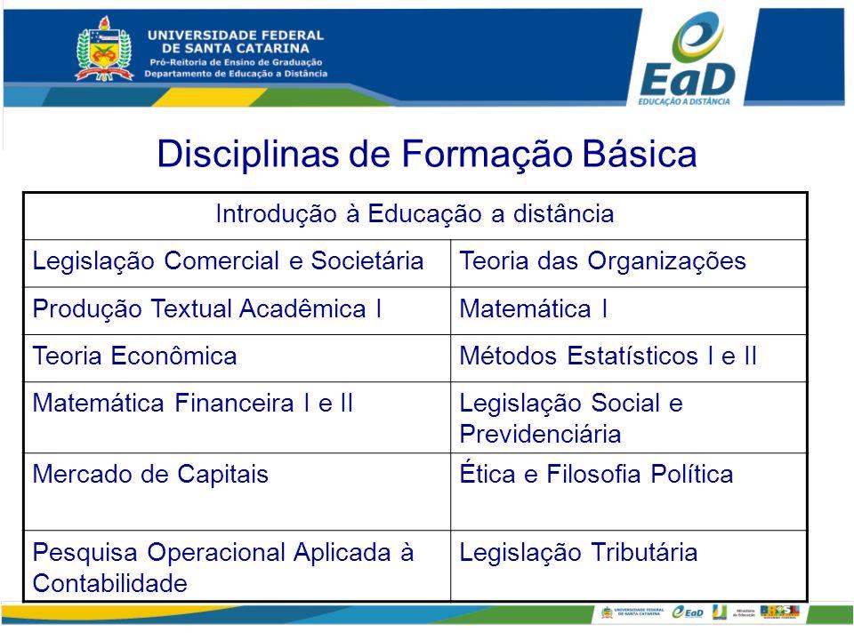 Disciplinas de Formação Básica Introdução à Educação a distância Legislação Comercial e SocietáriaTeoria das Organizações Produção Textual Acadêmica I