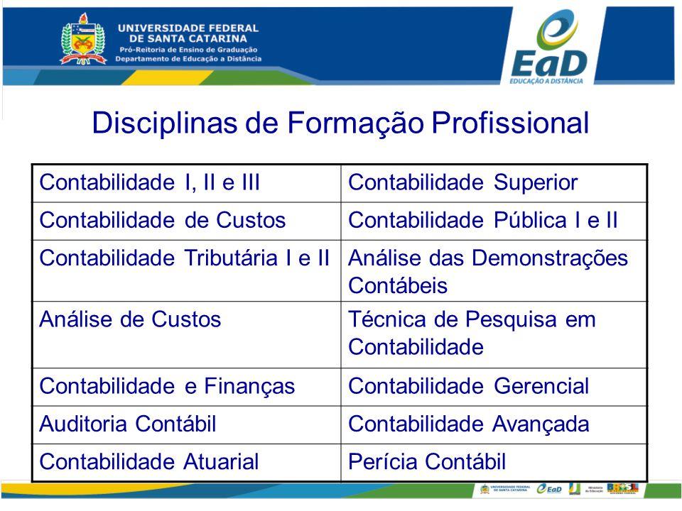 Disciplinas de Formação Profissional Contabilidade I, II e IIIContabilidade Superior Contabilidade de CustosContabilidade Pública I e II Contabilidade