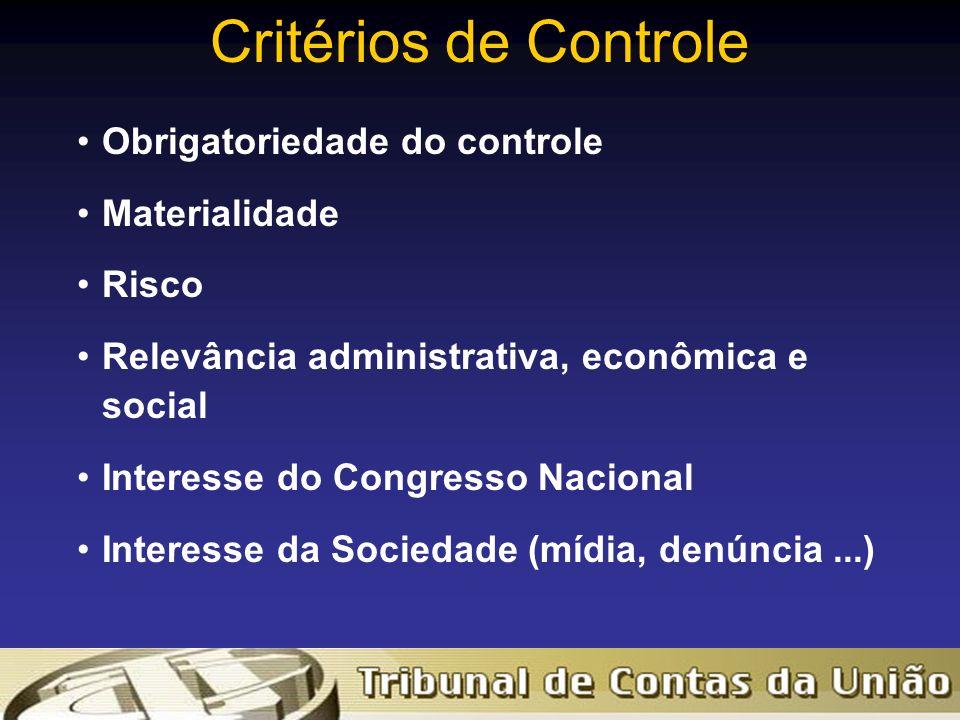 Critérios de Controle Obrigatoriedade do controle Materialidade Risco Relevância administrativa, econômica e social Interesse do Congresso Nacional Interesse da Sociedade (mídia, denúncia...)