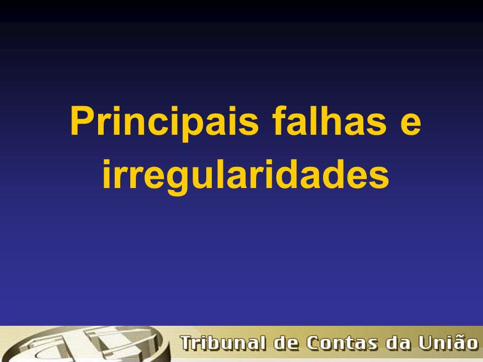 Principais falhas e irregularidades