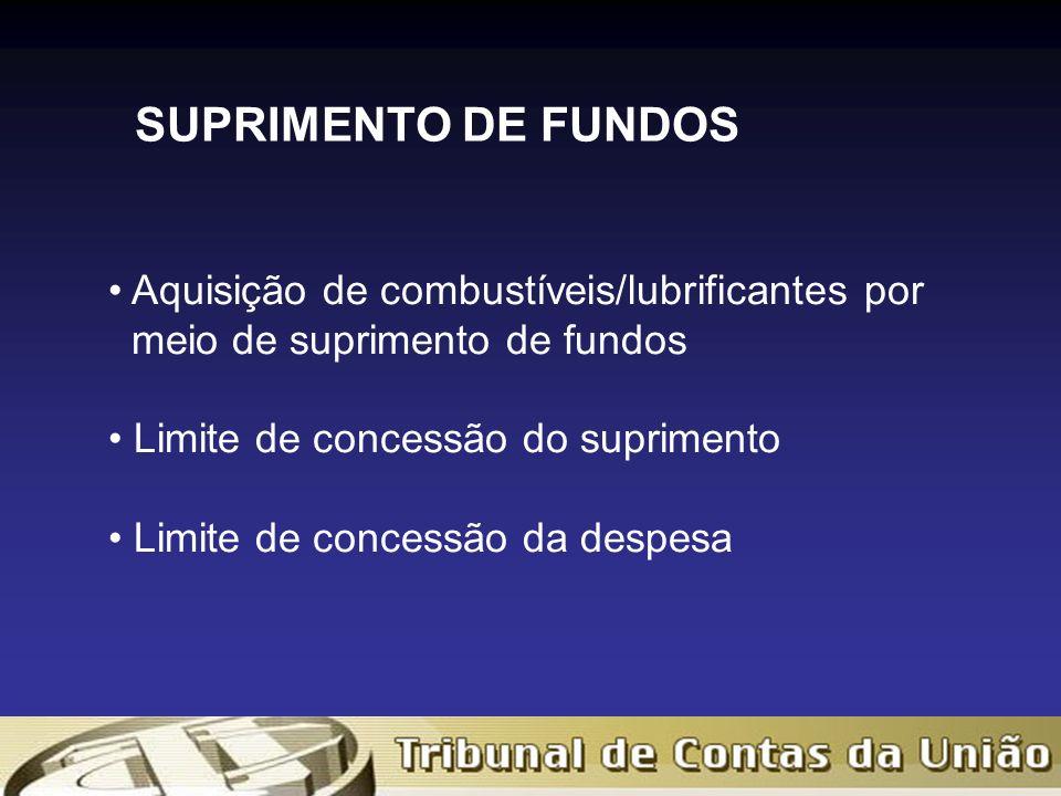 Aquisição de combustíveis/lubrificantes por meio de suprimento de fundos Limite de concessão do suprimento Limite de concessão da despesa SUPRIMENTO DE FUNDOS