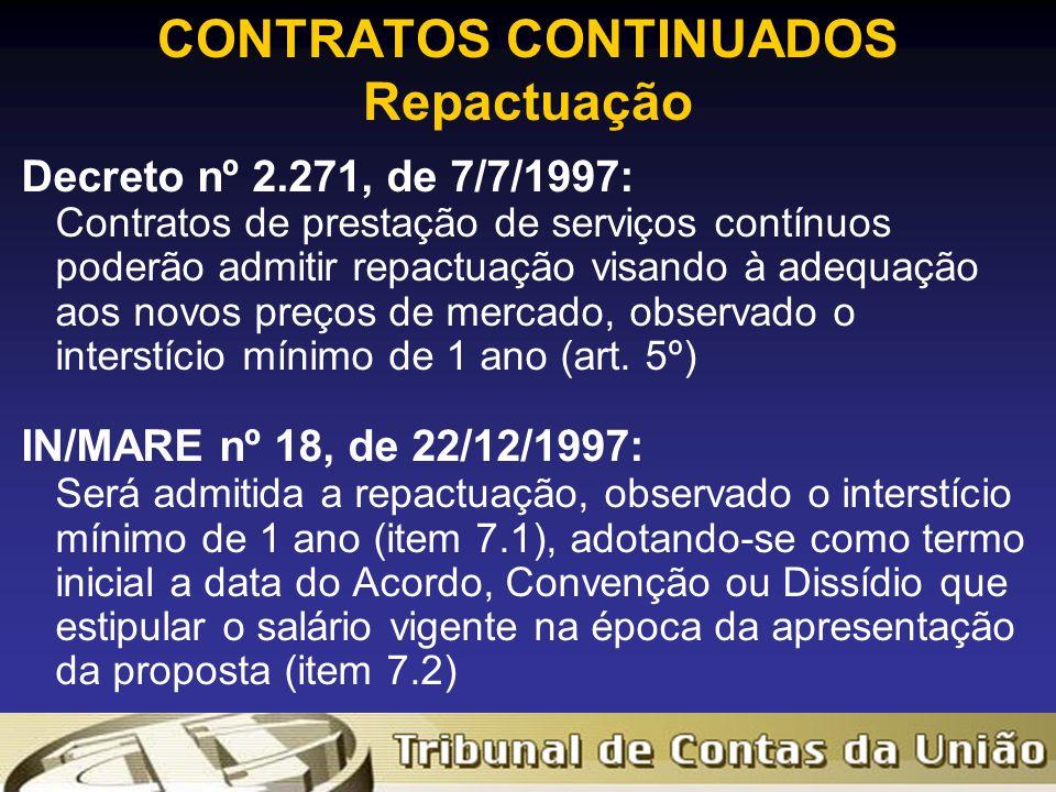 CONTRATOS CONTINUADOS Repactuação Decreto nº 2.271, de 7/7/1997: Contratos de prestação de serviços contínuos poderão admitir repactuação visando à adequação aos novos preços de mercado, observado o interstício mínimo de 1 ano (art.