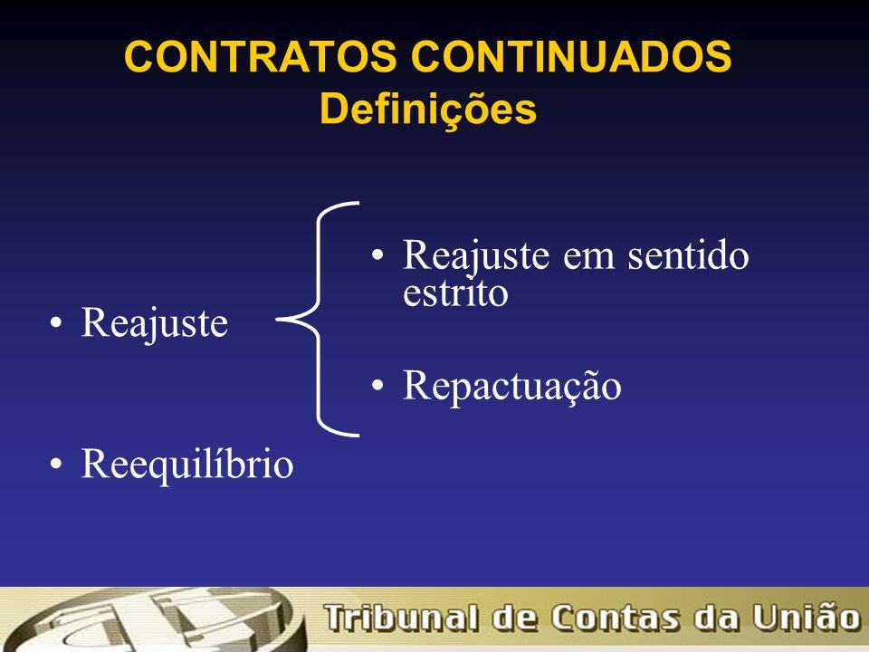 CONTRATOS CONTINUADOS Definições Reajuste Reequilíbrio Reajuste em sentido estrito Repactuação