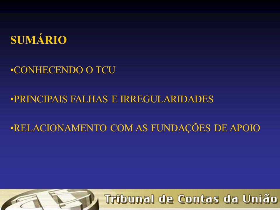 SUMÁRIO CONHECENDO O TCU PRINCIPAIS FALHAS E IRREGULARIDADES RELACIONAMENTO COM AS FUNDAÇÕES DE APOIO