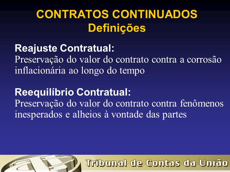 CONTRATOS CONTINUADOS Definições Reajuste Contratual: Preservação do valor do contrato contra a corrosão inflacionária ao longo do tempo Reequilíbrio Contratual: Preservação do valor do contrato contra fenômenos inesperados e alheios à vontade das partes