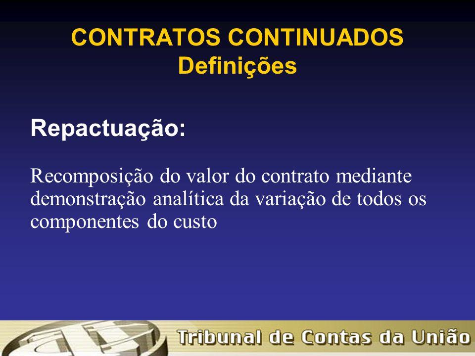 CONTRATOS CONTINUADOS Definições Repactuação: Recomposição do valor do contrato mediante demonstração analítica da variação de todos os componentes do custo
