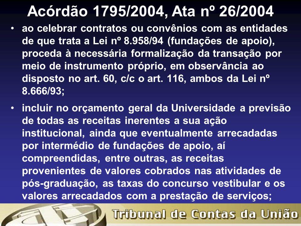 Acórdão 1795/2004, Ata nº 26/2004 ao celebrar contratos ou convênios com as entidades de que trata a Lei nº 8.958/94 (fundações de apoio), proceda à necessária formalização da transação por meio de instrumento próprio, em observância ao disposto no art.