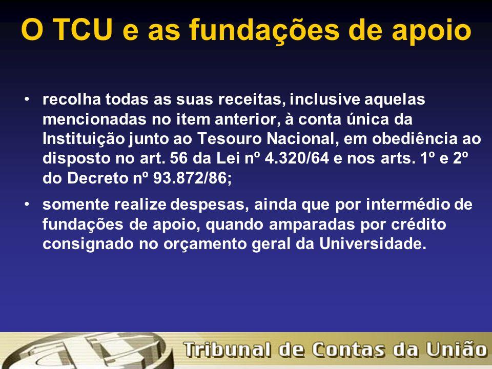 O TCU e as fundações de apoio recolha todas as suas receitas, inclusive aquelas mencionadas no item anterior, à conta única da Instituição junto ao Tesouro Nacional, em obediência ao disposto no art.
