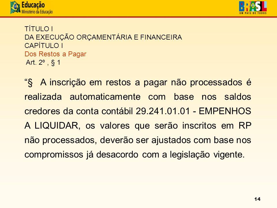 14 TÍTULO I DA EXECUÇÃO ORÇAMENTÁRIA E FINANCEIRA CAPÍTULO I Dos Restos a Pagar Art.