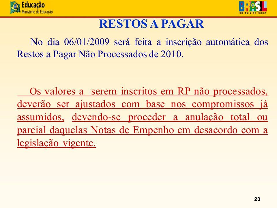 23 RESTOS A PAGAR No dia 06/01/2009 será feita a inscrição automática dos Restos a Pagar Não Processados de 2010.
