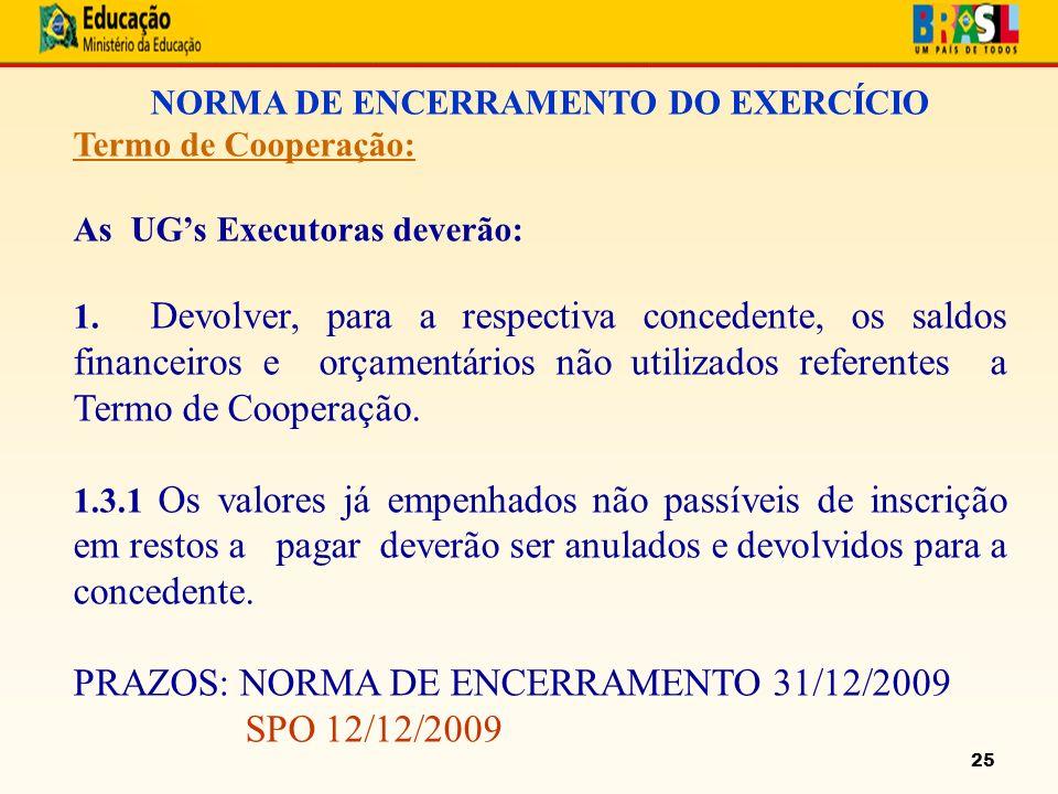 25 NORMA DE ENCERRAMENTO DO EXERCÍCIO Termo de Cooperação: As UGs Executoras deverão: 1.