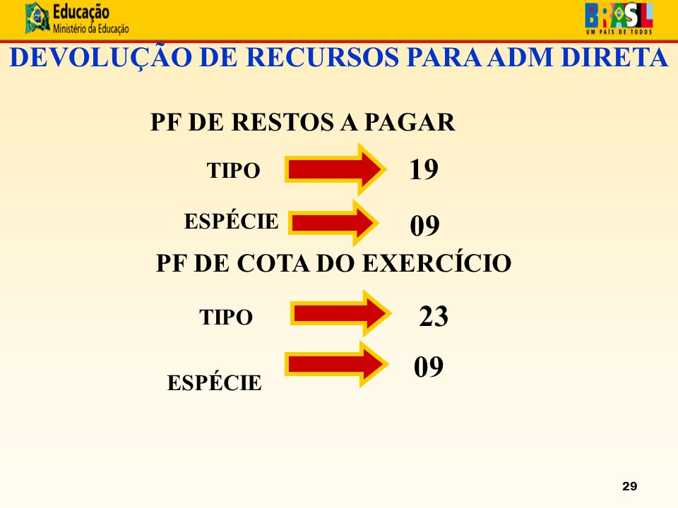 29 DEVOLUÇÃO DE RECURSOS PARA ADM DIRETA PF DE RESTOS A PAGAR TIPO ESPÉCIE PF DE COTA DO EXERCÍCIO TIPO ESPÉCIE 19 09 23 09