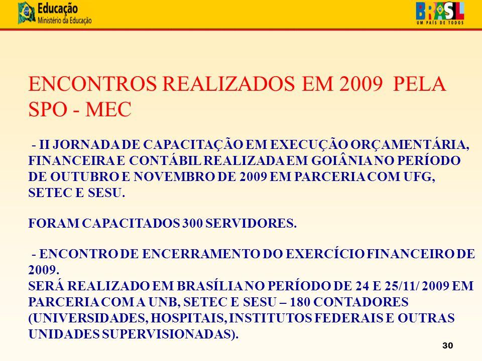 30 ENCONTROS REALIZADOS EM 2009 PELA SPO - MEC - II JORNADA DE CAPACITAÇÃO EM EXECUÇÃO ORÇAMENTÁRIA, FINANCEIRA E CONTÁBIL REALIZADA EM GOIÂNIA NO PERÍODO DE OUTUBRO E NOVEMBRO DE 2009 EM PARCERIA COM UFG, SETEC E SESU.