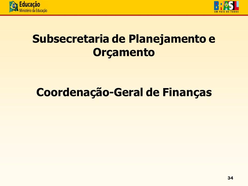 34 Subsecretaria de Planejamento e Orçamento Coordenação-Geral de Finanças