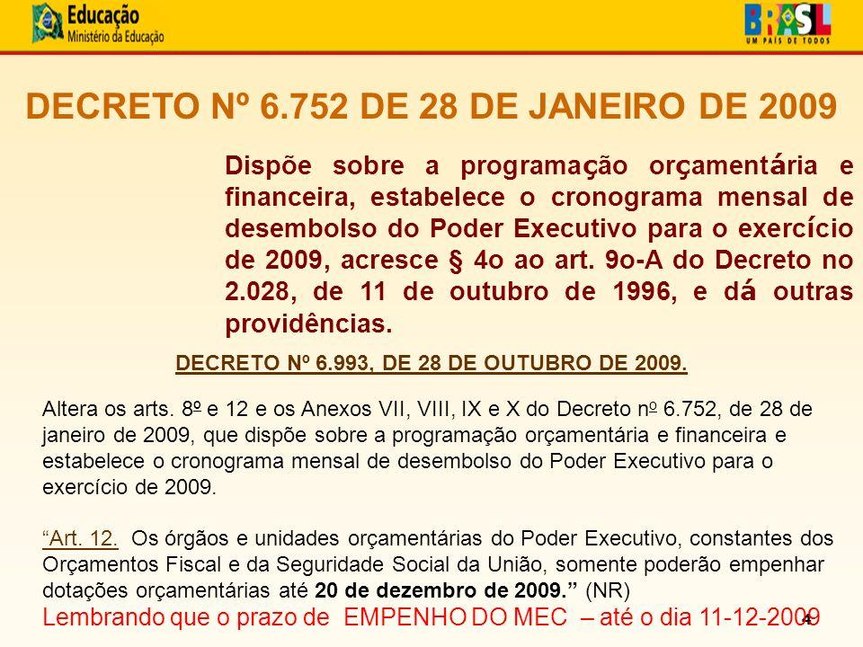 4 DECRETO Nº 6.752 DE 28 DE JANEIRO DE 2009 Dispõe sobre a programa ç ão or ç ament á ria e financeira, estabelece o cronograma mensal de desembolso do Poder Executivo para o exerc í cio de 2009, acresce § 4o ao art.