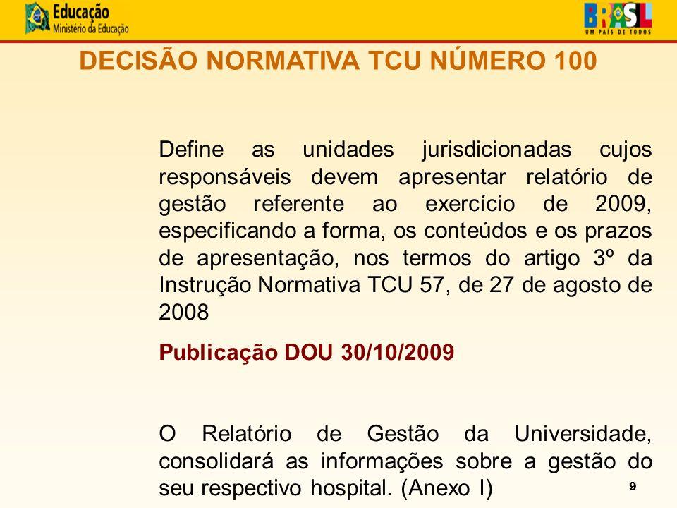 9 DECISÃO NORMATIVA TCU NÚMERO 100 Define as unidades jurisdicionadas cujos responsáveis devem apresentar relatório de gestão referente ao exercício de 2009, especificando a forma, os conteúdos e os prazos de apresentação, nos termos do artigo 3º da Instrução Normativa TCU 57, de 27 de agosto de 2008 Publicação DOU 30/10/2009 O Relatório de Gestão da Universidade, consolidará as informações sobre a gestão do seu respectivo hospital.