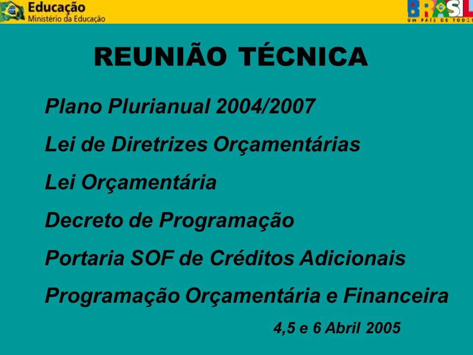 REUNIÃO TÉCNICA Plano Plurianual 2004/2007 Lei de Diretrizes Orçamentárias Lei Orçamentária Decreto de Programação Portaria SOF de Créditos Adicionais Programação Orçamentária e Financeira 4,5 e 6 Abril 2005