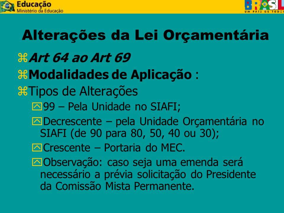 Alterações da Lei Orçamentária zArt 64 ao Art 69 zModalidades de Aplicação : zTipos de Alterações y99 – Pela Unidade no SIAFI; yDecrescente – pela Unidade Orçamentária no SIAFI (de 90 para 80, 50, 40 ou 30); yCrescente – Portaria do MEC.