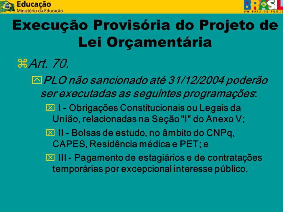Execução Provisória do Projeto de Lei Orçamentária z Art.