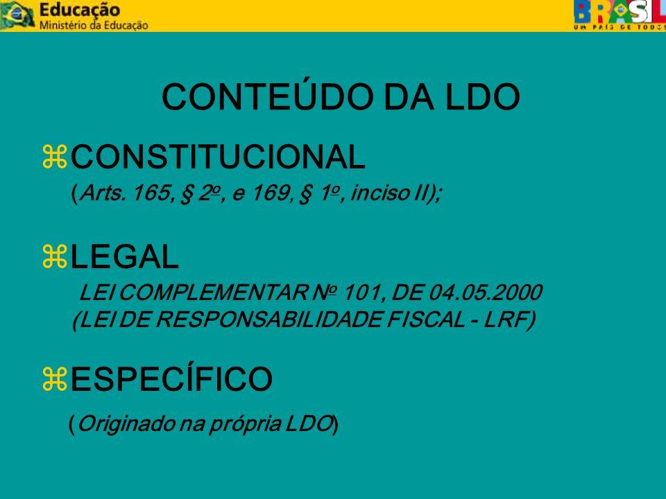 CONTEÚDO CONSTITUCIONAL (Arts. 165, § 2 o, e 169, § 1 o, inciso II);