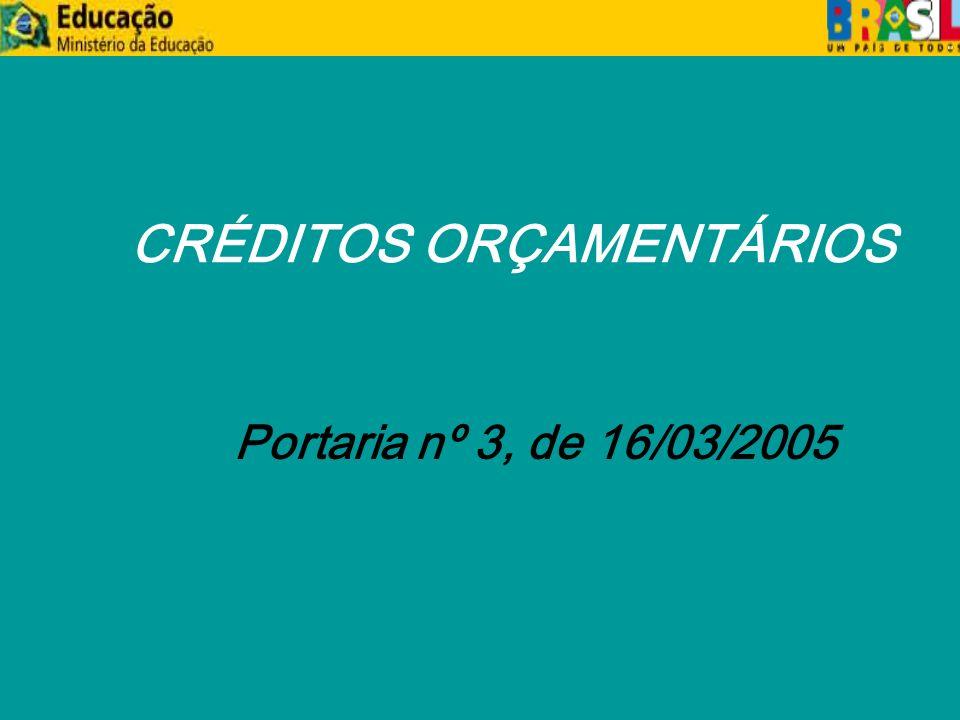 CRÉDITOS ORÇAMENTÁRIOS Portaria nº 3, de 16/03/2005