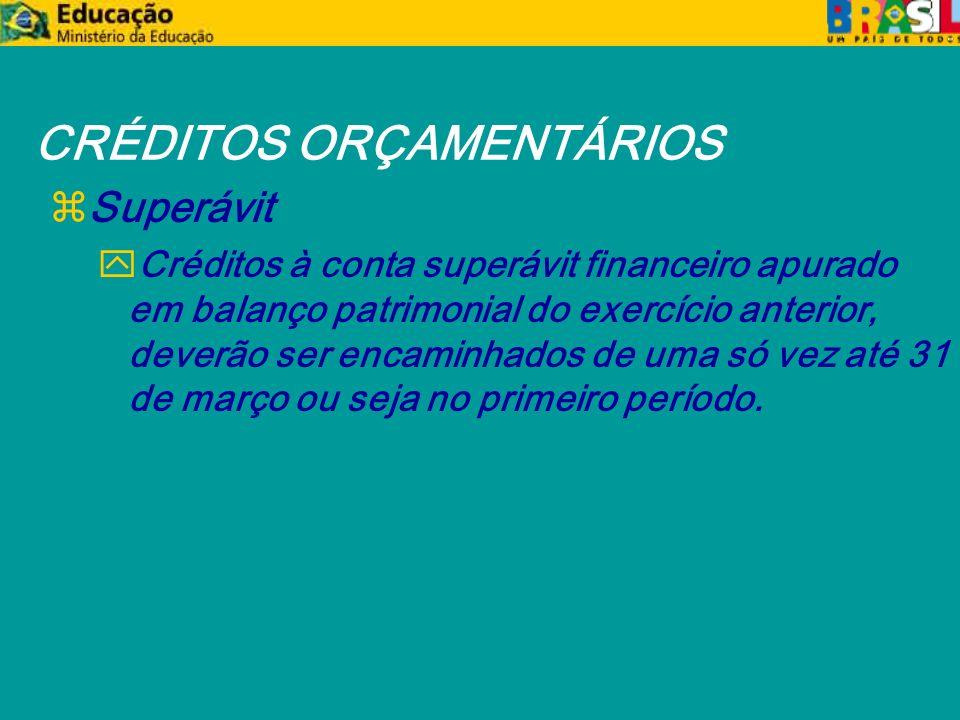 CRÉDITOS ORÇAMENTÁRIOS zSuperávit yCréditos à conta superávit financeiro apurado em balanço patrimonial do exercício anterior, deverão ser encaminhados de uma só vez até 31 de março ou seja no primeiro período.