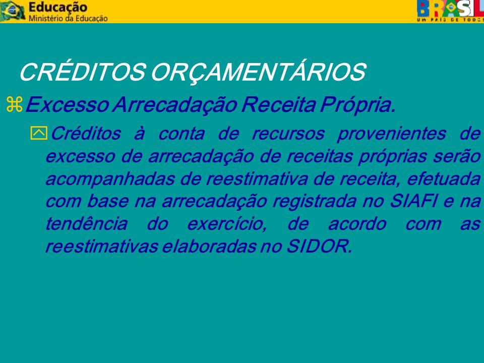 CRÉDITOS ORÇAMENTÁRIOS zExcesso Arrecadação Receita Própria.