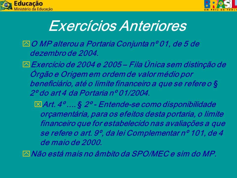 Exercícios Anteriores y O MP alterou a Portaria Conjunta nº 01, de 5 de dezembro de 2004.