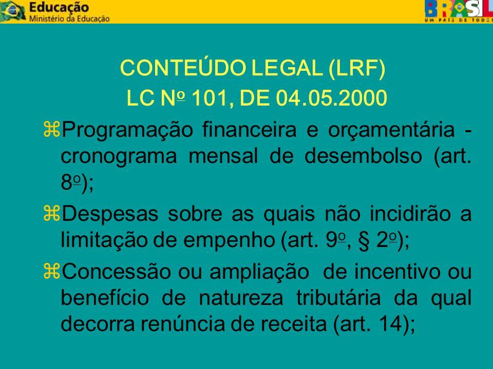 CRÉDITOS ORÇAMENTÁRIOS z Principais alterações orçamentárias: x 100- Remanejamento entre subtítulos e incorporações de excesso de arrecadação até o limite de 12% ; x 110- Remanejamento entre Grupos 3, 4 e 5, do mesmo subtítulo, até o limite de 25%; x 120- Suplementação acima dos limites autorizados na LOA; x 150- Incorporação de doação e convênios; x 200- Inclusão de categoria de programação não contemplada na LOA; x 600 - Troca de fontes.