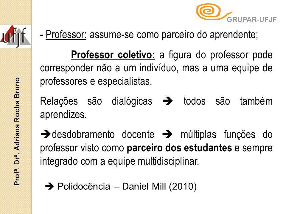 - Professor: assume-se como parceiro do aprendente; Professor coletivo: a figura do professor pode corresponder não a um indivíduo, mas a uma equipe d