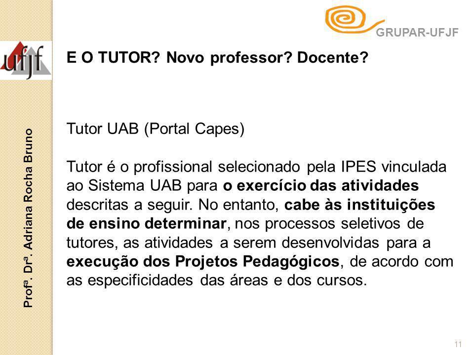 11 Tutor UAB (Portal Capes) Tutor é o profissional selecionado pela IPES vinculada ao Sistema UAB para o exercício das atividades descritas a seguir.