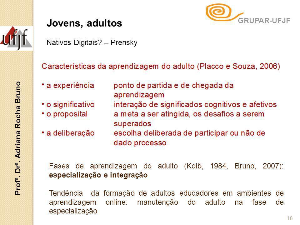 18 Jovens, adultos Nativos Digitais? – Prensky Fases de aprendizagem do adulto (Kolb, 1984, Bruno, 2007): especialização e integração Tendência da for